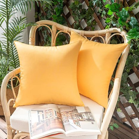 Woaboy Pack of 2 Outdoor Waterproof Throw Pillow Covers Decorative Farmhouse Lumbar Square Solid Cushion Cases for Patio Garden Porch Sofa Yellow 18x18 inch