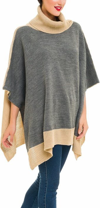 Poncho Turtleneck Sweater - Fall Outfit Ideas