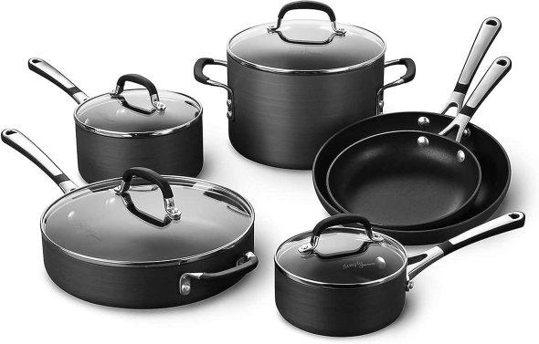 Calphalon Simply Pots and Pans Set, 10 piece Cookware Set, Nonstick