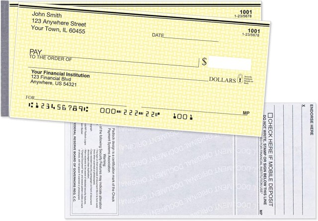 Amazon.com : Yellow Safety Side Tear Personal Checks : Office Products