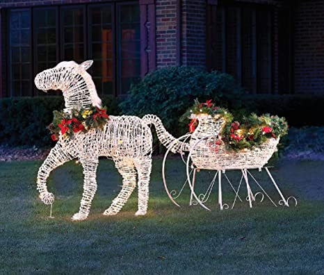 Chistmas 10 Lighted Horse Drawn Sleigh Outdoor Yard Decoration
