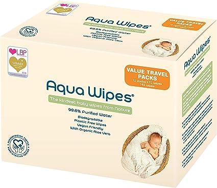 Aqua Wipes Baby Wipes (12 x 12 Wipe Travel Packs)