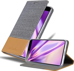 Cadorabo Book Case Compatible with Sony Xperia 10 in Light Grey Brown - with Magnetic Closure, Stand Function and Card Slot - Wallet Etui Cover Pouch PU Leather Flip