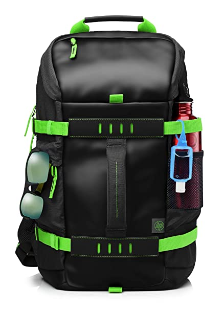 Image result for HP Odyssey T5P98AA Backpack for 15.6-inch Laptops (Black/Electric Green)