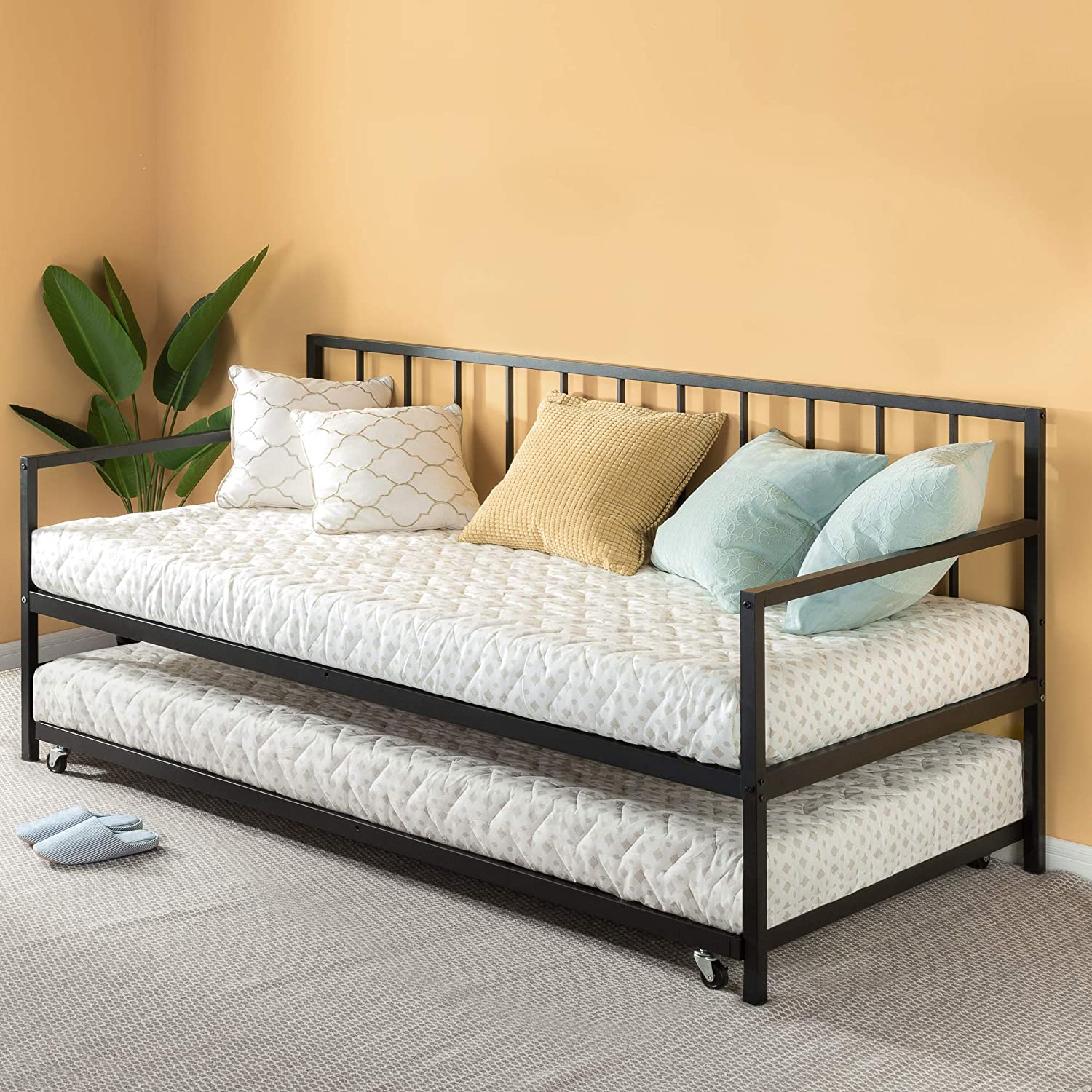 Amazon Com Zinus Eden Twin Daybed And Trundle Set Premium Steel Slat Support Daybed And Roll Out Trundle Accommodate Twin Size Mattresses Sold Separately Furniture Decor