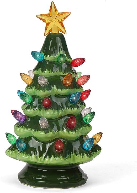 Amazon Com Ceramic Christmas Tree Tabletop Christmas Tree With Lights 6 75 Small Green Christmas Tree Multicolored Lights Lighted Vintage Ceramic Tree Home Kitchen