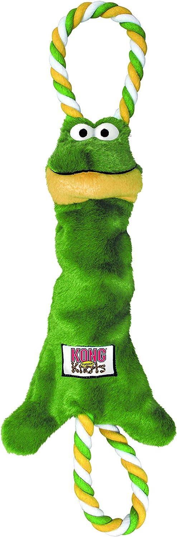 KONG - Tugger Knots Frog - Juguete para estirar, con poco relleno y aros - Raza pequeña/mediana