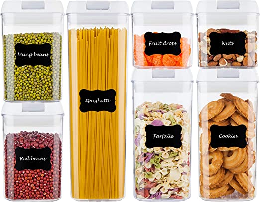 Amazon Com Airtight Food Storage Containers Vtopmart 7 Pieces Bpa Free Plastic Cereal Containers With Easy Lock Lids For Kitchen Pantry Organization And Storage Include 24 Free Chalkboard Labels And 1 Marker Kitchen