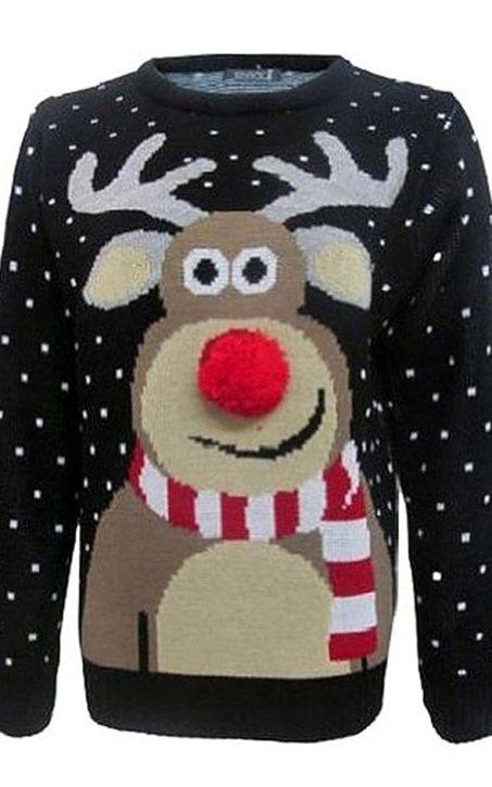 Fashion Essentials-womens Unisex Rudolph Print 3d Nose Pom Pom Christmas Jumper (S, BLACK)