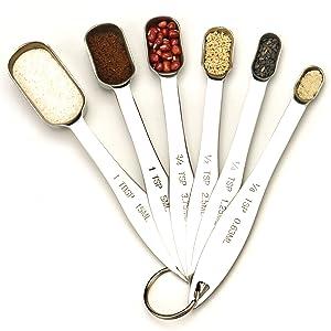 Set of 6 Heavy Duty Stainless Steel Metal Measuring Spoons