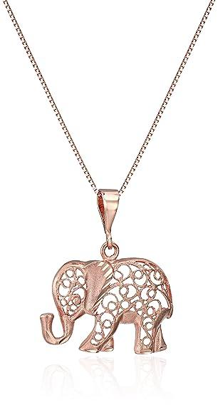"14k Rose Gold Diamond-Cut Elephant Pendant Necklace, 18"""