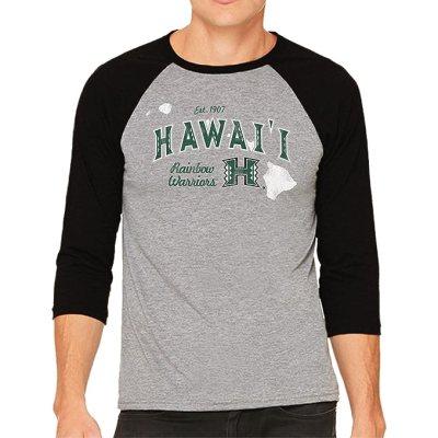 Original Retro Brand NCAA Hawaii Rainbow Warriors Men's 3/4 Baseball Tee, Large, Heather/Black