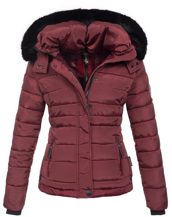 Navahoo warme Damen Winter Jacke Parka Mantel Stepp Kurzjacke gefüttert B301 [B301-Bordeaux -Gr.XS]