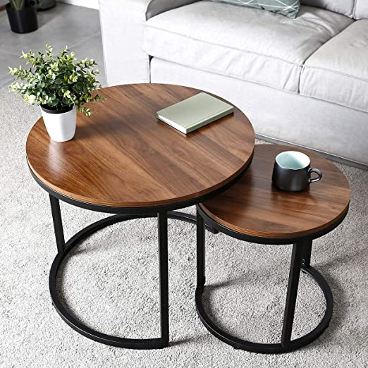 Amazon Com Amzdeal Coffee Table For Living Room Set Of 2 Nesting Side Coffee Tables Stable And Easy Assembly Chipboard Table Top With Metal Frame Large F 23 6 19 7 Inch Small