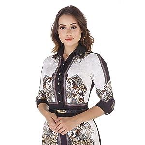 Vestido estampado com cinto - Via Tolentino