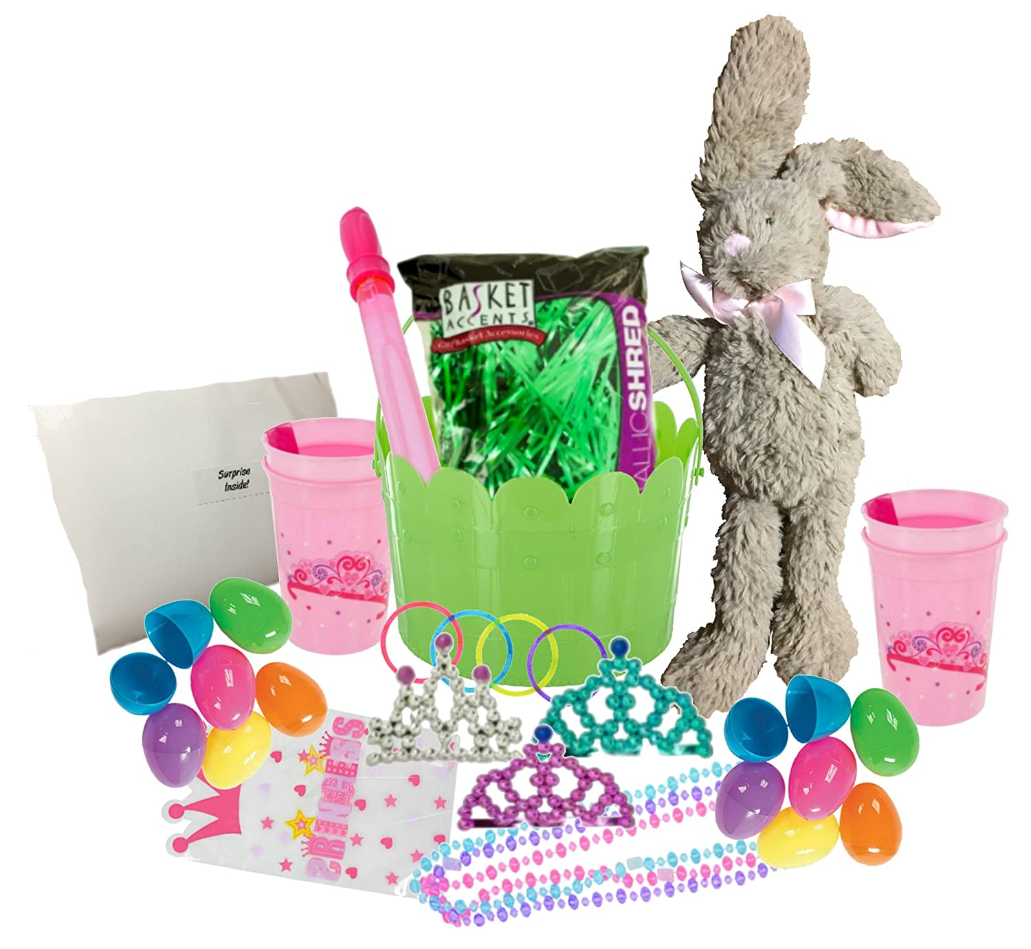 Princess Easter Basket Egg Hunt Kit for Girls, Toddlers, Children & Other Kids Indoor and Outdoor Use Includes A Bunny, Basket, Plastic Easter Eggs, Tiaras, Pink Princess Cups, Bubbles & So Much More