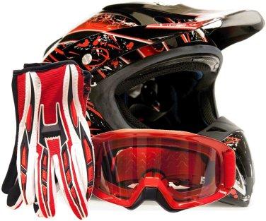Goggles Gloves Gear Combo DOT Motocross ATV Dirt Bike Helmet