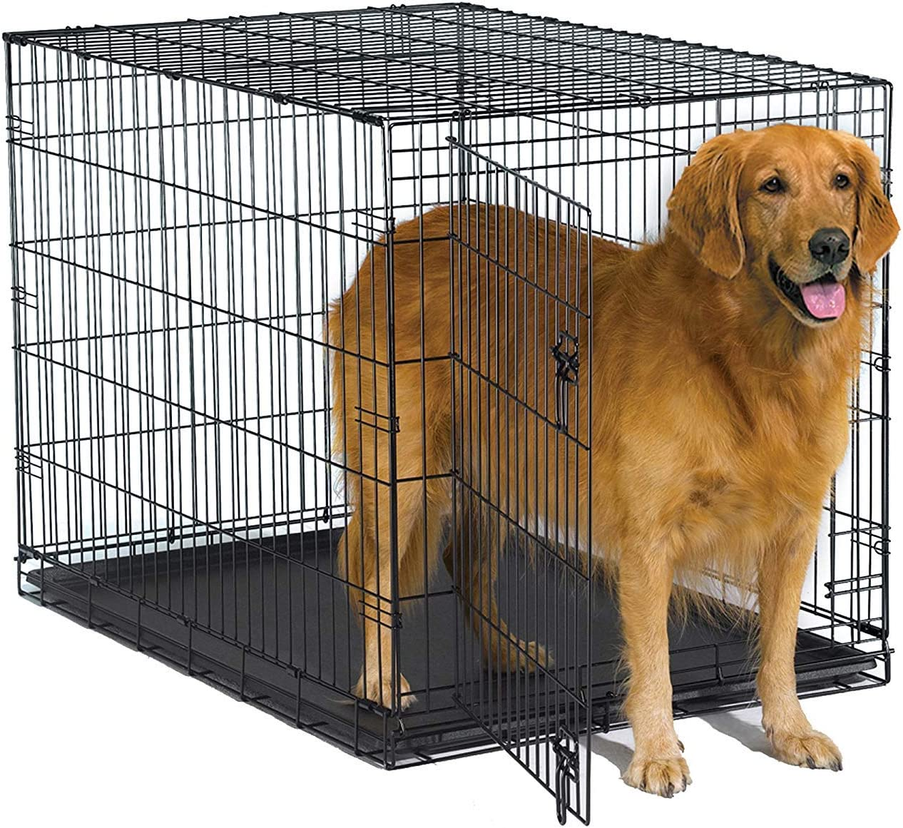 Amazon Com New World 42 Folding Metal Dog Crate Includes Leak Proof Plastic Tray Dog Crate Measures 42l X 30w X 28h Inches Fits Large Dog Breeds Pet Supplies