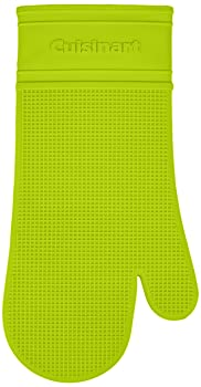 Cuisinart Silicone Heat-Proof Oven Mitt with Quilted Cotton Lining, Lime Green