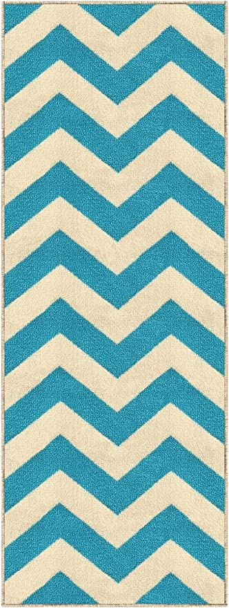 Amazon Com Kapaqua Custom Size Blue Chevron Zig Zag Rubber | Zig Zag Carpet On Stairs | Mohawk Patterned Carpet | Stair Triangular Landing | Before And After | American Style | Silver Grey