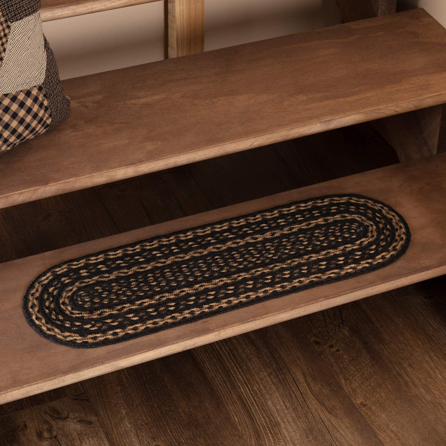 Amazon Com Vhc Brands 28143 Classic Country Primitive Flooring | Braided Stair Treads With Rubber Backing | Non Slip | Skid Resistant | Anti Slip | Heritage Farms | Slip Resistant