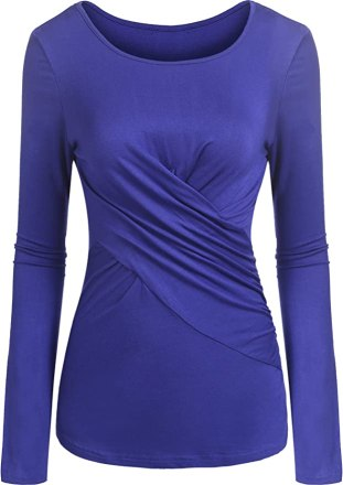 Zeagoo Women's Cross-Front Round Collar Neck Ruched Long Sleeve Blouse Top Royal Blue