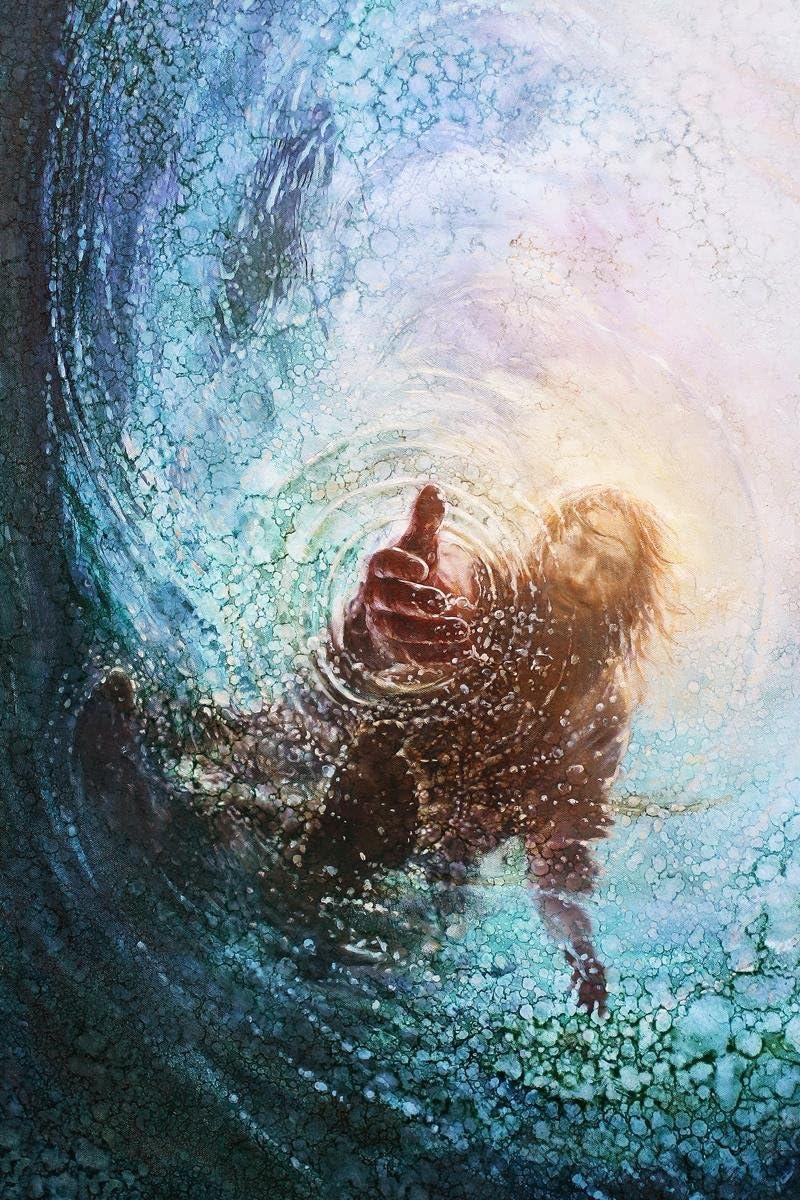 Amazon.com: Havenlight Yongsung Kim - The Hand of God Painting - Jesus Reaching Into Water - 8