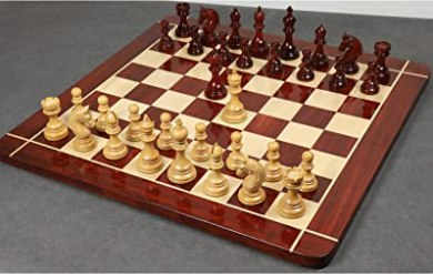 "RoyalChessMall -4.1"" Stallion Staunton Luxury Chess Pieces Set - Triple Weighted Bud Rose Wood"