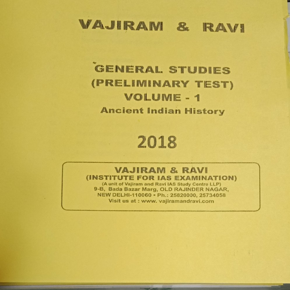 Vajiram and Ravi Ancient India Printed Notes Download