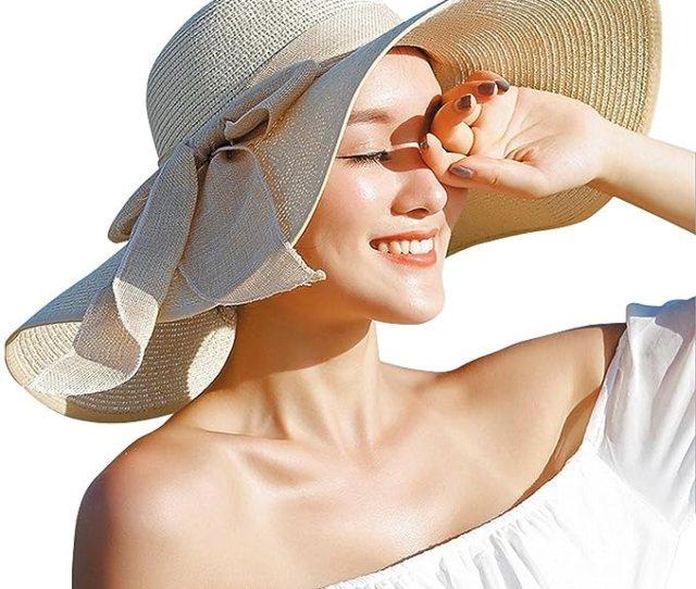 Women Floppy Hat Big Bowknot Straw Hat Wide Brim Beach Hat Sun Hat One Size