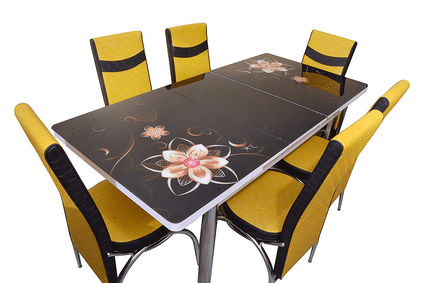 Loyal Furnitures Black Magic 6 Seater Extendable Digital Print Tempered Glass Top Dining Table Set With 6 Chairs Amazon In Home Kitchen