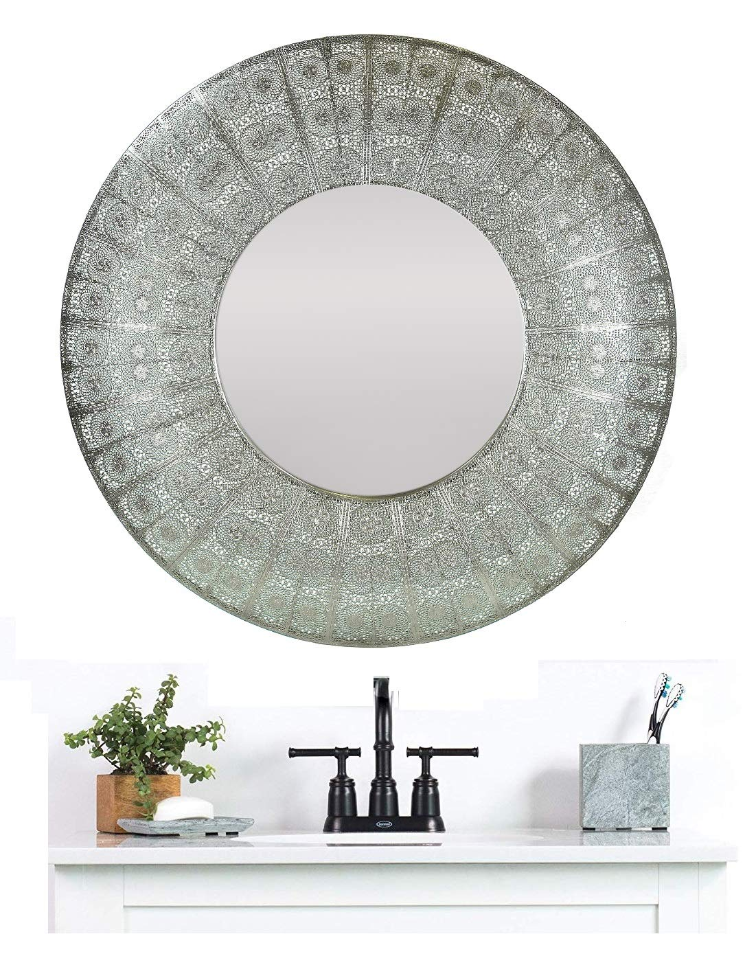 Black Round Wall Mirror 24 Inch Large Round Mirror Rustic Accent Mirror For Bathroom Entry Dining Room Living Room Metal Black Round Mirror For