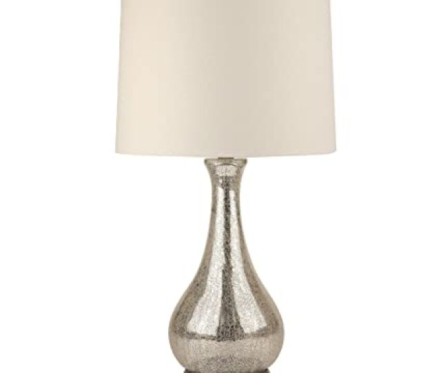 Eurus Home Silver Mercury Gltable Lampcrackled Glgourd Table Lamp With Linen Fabric