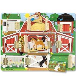 "Melissa & Doug Hide & Seek Farm, Developmental Toys, Magnetic Puzzle Board, Sturdy Wooden Construction, 9 Pieces, 12"" H x 9.4"" W x 0.9"" L"