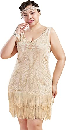 BABEYOND Women's Plus Size Flapper Dresses 1920s V Neck Beaded ...