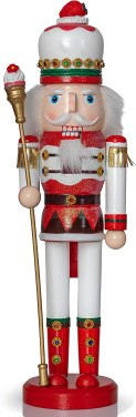 Ornativity Strawberry Toy Soldier Nutcracker - Wooden Strawberry Hat with Cupcake Scepter King Theme Christmas Nutcracker Figure Holiday Decoration