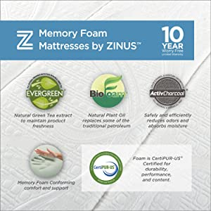 Zinus Memory Foam Green Tea Mattress benefits