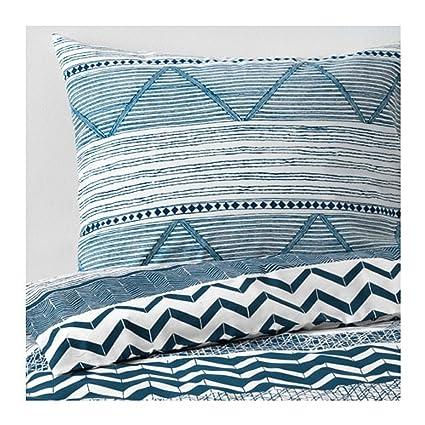 Ikea Provinsros Copripiumino E Federe Bianco Blu 00390155