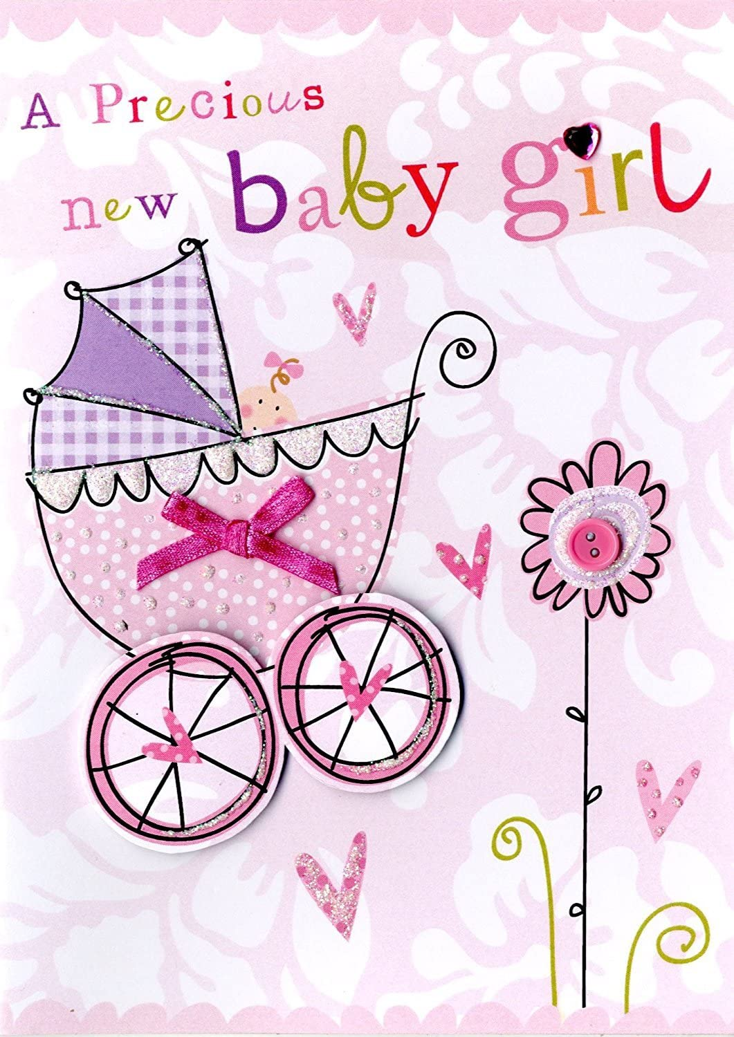 Amazon Com New Born Baby Girl Hand Finished Congratulations Greeting Card Health Personal Care