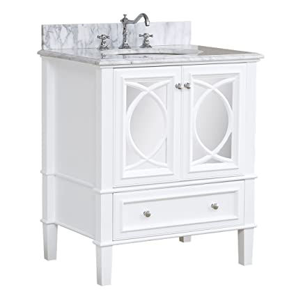Olivia 30 Inch Bathroom Vanity Carrara White Includes Italian Carrara Countertop A White Cabinet Soft Close Drawers And A Ceramic Sink Amazon Com