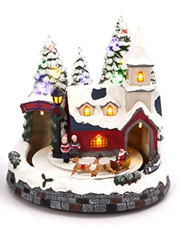 Lighted Animated Christmas Village Scene With Church Or Train Station Holiday Decoration Santa