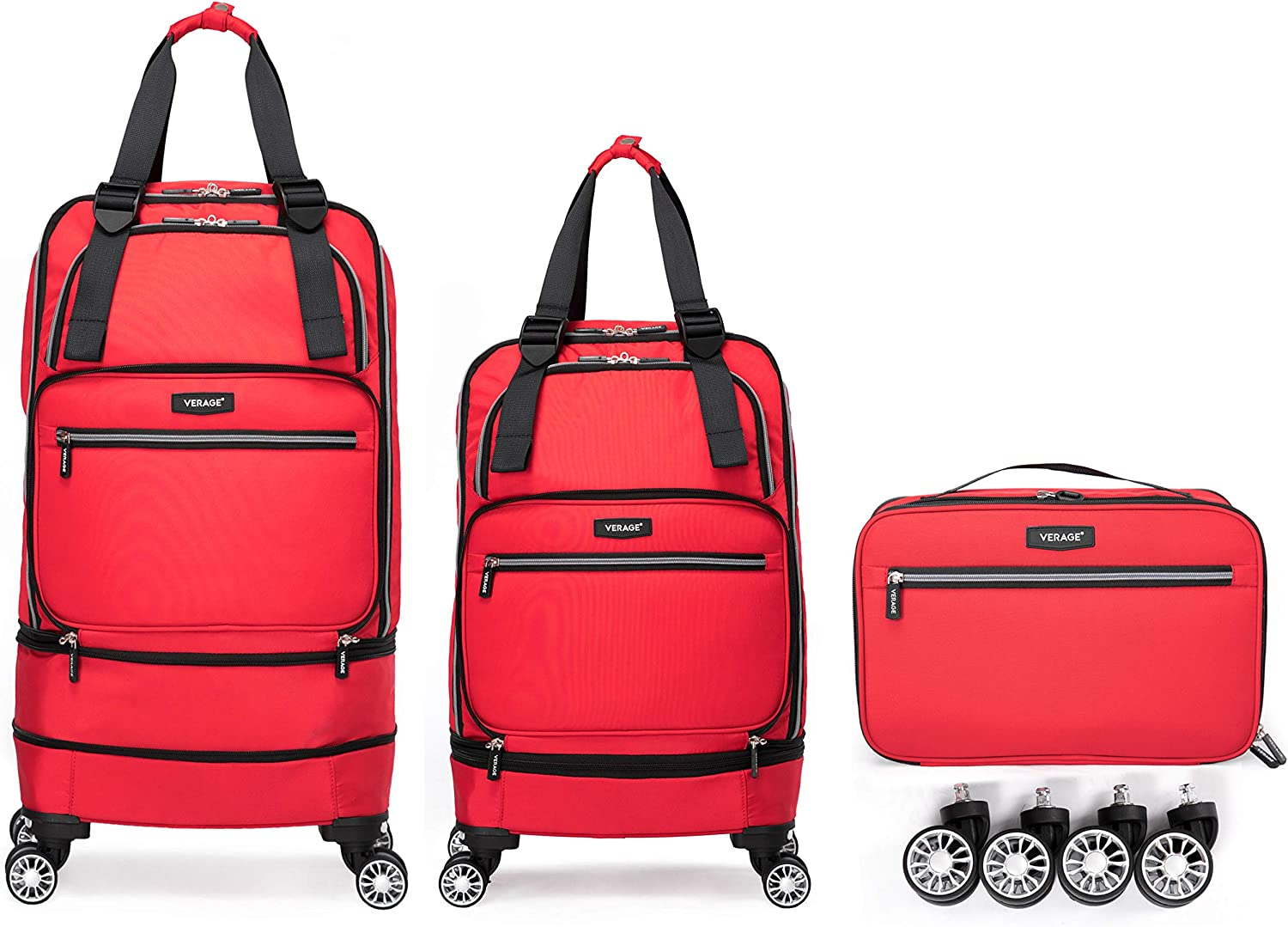 Amazon.com | Foldable Luggage Bag with Spinner wheels, Expandable  Collapsible Rolling Duffel Bag, Carry On Luggage 22x14x9/Checked Luggage  for Travel (2 in 1), Red | Suitcases