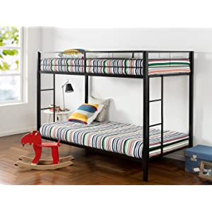 Zinus Easy Assembly Quick Lock Twin over Twin Classic Metal Bunk Bed with Dual Ladders / Quick to Assemble in Under an Hou