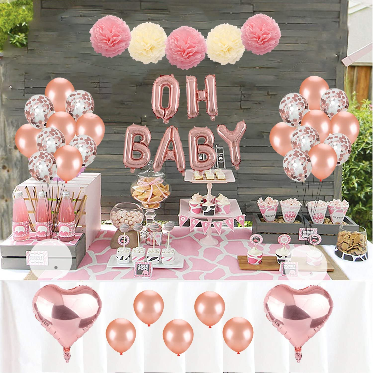 Amazon Com Kwayi Baby Shower Decoration Set Rose Gold Theme Baby Shower Decoration With Oh Baby Banner Rose Gold Balloon And Tissue Paper Pom Poms Toal 35pcs For Baby Shower Party Decoration Arts