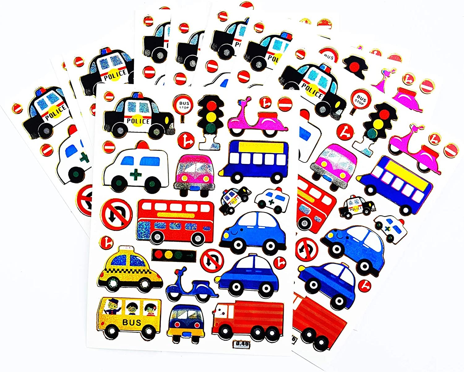 Amazon Com 10 Sheets Police Car Cartoon Bus Stickers Traffic Car Stickers Children Boys Christmas Gift Toy Album Decor Stickers Scrapbook Craft For Kids Nursery Birthday Party Crafts For Kids