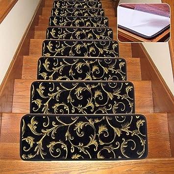 Seloom Carpet Stair Treads Indoor Non Slip Stair Rugs Covers | Black Carpet Stair Treads | Bullnose | Padded | Stair Runner | Staircase | Non Slip Stair Tread