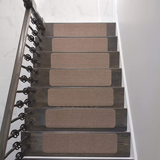 Amazon Com Rugstylesonline Stair Treads Collection Indoor Skid | Average Price To Carpet Stairs | Rubber Stair | Wood | Stair Nosing | Wood Flooring | Hardwood