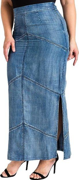 Standards & Practices Plus Size Modern Women's Tencel Denim Maxi Pencil Skirt