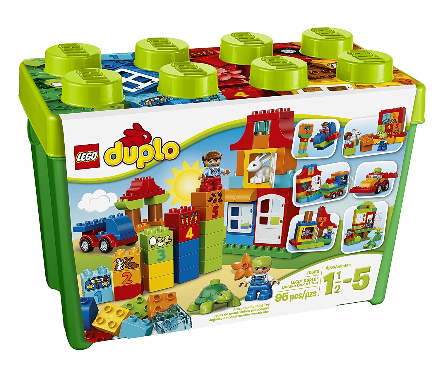 LEGO DUPLO Creative Play My First Box of Fun 10580, Preschool, Pre-Kindergarten Large Building Block Toys for Toddlers