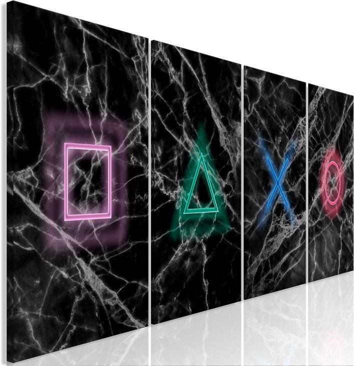 murando Cuadro en Lienzo for Gamers Consola de Juegos 160x60 cm 4 Partes Impresión en Material Tejido no Tejido Impresión Artística Imagen Gráfica Decoracion de Pared Negro Colorido i-A-0140-b-i